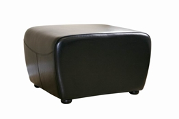 Baxton Studio Black Full Leather Ottoman with Rounded Sides Black Full Leather Ottoman with Rounded Sides wholesale, wholesale furniture, restaurant furniture, hotel furniture, commercial furniture