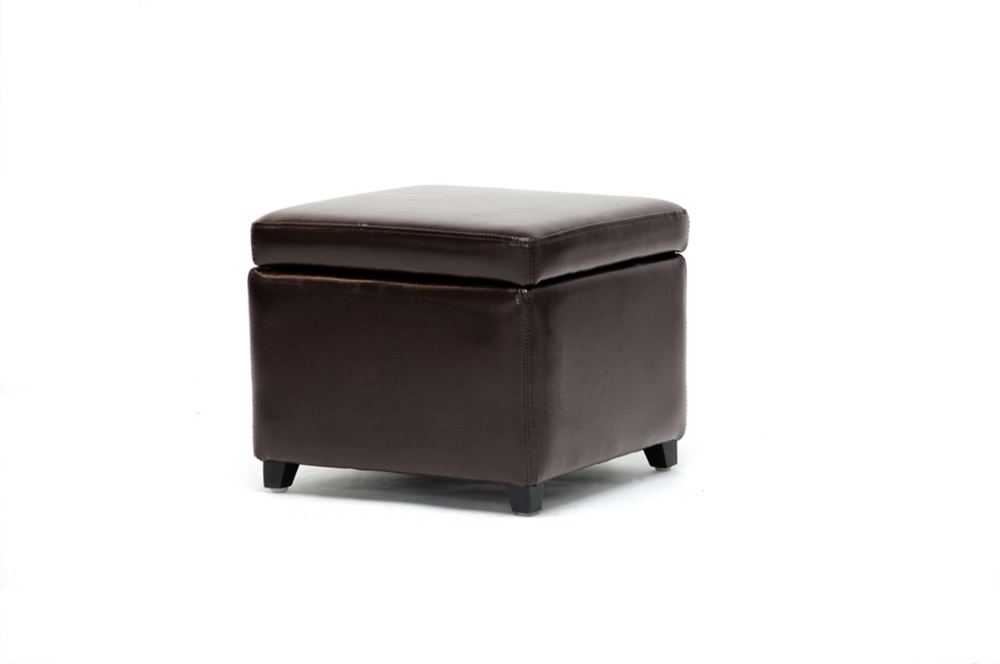 Groovy Dark Brown Full Leather Small Storage Cube Ottoman Onthecornerstone Fun Painted Chair Ideas Images Onthecornerstoneorg
