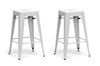 Wholesale Interiors Baxton Studio French Industrial Modern Counter Stool in White (Set of 2)