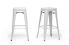 Wholesale Interiors Baxton Studio French Industrial Modern Bar Stool in White (Set of 2)