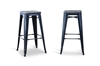 Wholesale Interiors Baxton Studio French Industrial Modern Bar Stool in Black (Set of 2)