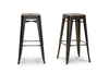 Wholesale Interiors Baxton Studio French Industrial Modern Bar Stool in Antique Copper (Set of 2)