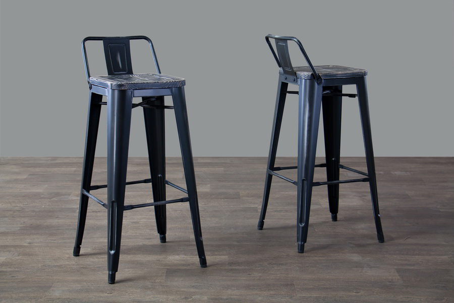 Baxton Studio French Industrial Modern Bar Stool in Black Set of 2 M