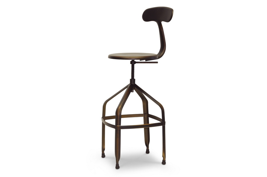 Wholesale Interiors Baxton Studio Architect's Industrial Bar Stool with Backrest in Antiqued Copper