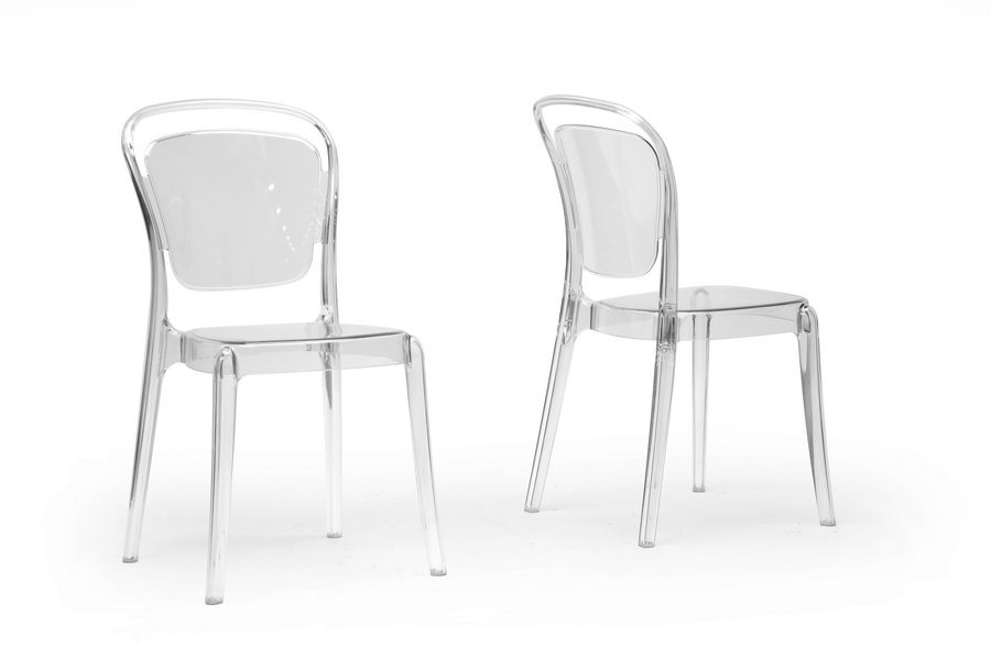 Baxton Studio Ingram Clear Plastic Stackable Modern Dining Chair (Set Of 2)    PC ...