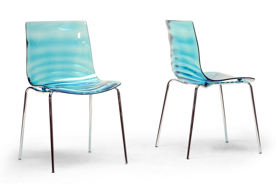 Baxton Studio Marisse Blue Plastic Modern Dining Chair Set Of 2 Pc