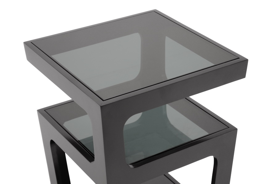 ... Baxton Studio Clara Black Modern End Table With 3 Tiered Glass Shelves    RT286  ...