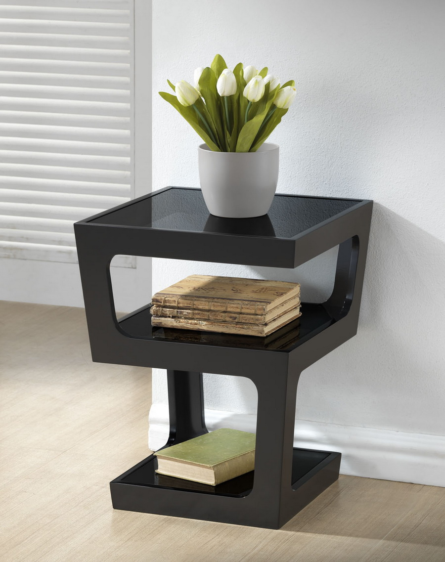 ... Baxton Studio Clara Black Modern End Table With 3 Tiered Glass Shelves    RT286