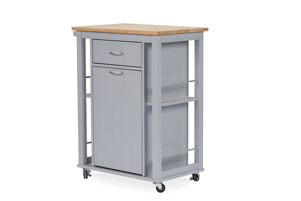 Baxton Studio Yonkers Contemporary Light Grey Kitchen Cart With Wood Topone 1 Kitchen Cart