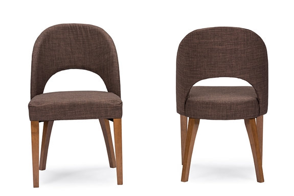 Baxton studio lucas mid century style brown fabric dining chairtwo 2 dining chairs wholesale - Wholesale dining room chairs ...