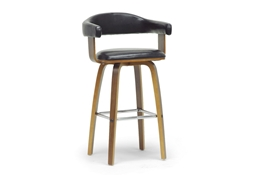 Baxton Studio Quigley Walnut and Black Modern Counter Stool Baxton Studio Quigley Walnut and Black Modern Counter Stool, wholesale furniture, restaurant furniture, hotel furniture, commercial furniture