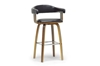 Wholesale Interiors Baxton Studio Quigley Walnut and Black Modern Counter Stool