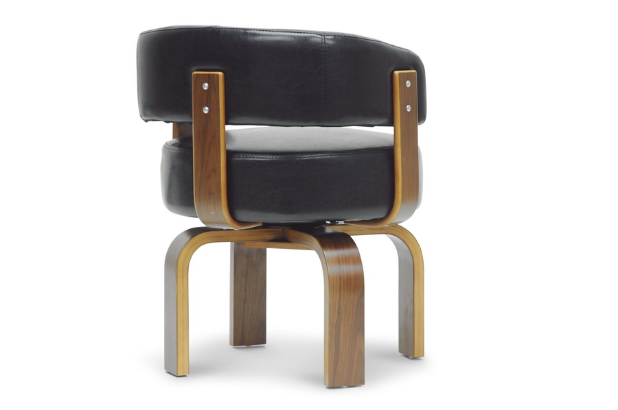 Baxton Studio Fortson Walnut And Black Modern Accent Chair