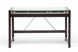 Baxton Studio Idabel Dark Brown Wood Modern Desk with Glass Top Idabel Dark Brown Wood Modern Desk with Glass Top, wholesale furniture, restaurant furniture, hotel furniture, commercial furniture