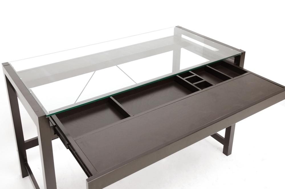 Baxton Studio Idabel Dark Brown Wood Modern Desk With Glass Top Rt207 Tbl
