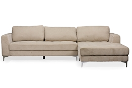 Baxton Studio Agnew Contemporary Light Beige Microfiber Right Facing Sectional Sofa Living Room Furniture/Sectional Sofas/Modern Sofa/Light Beige/Leather/Bonded Leather Upholstery/Chrome Legs