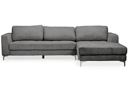 Baxton Studio Agnew Contemporary Grey Microfiber Right Facing Sectional Sofa Living Room Furniture/Sectional Sofas/Modern Sofa/Grey/Leather/Bonded Leather Upholstery/Chrome Legs