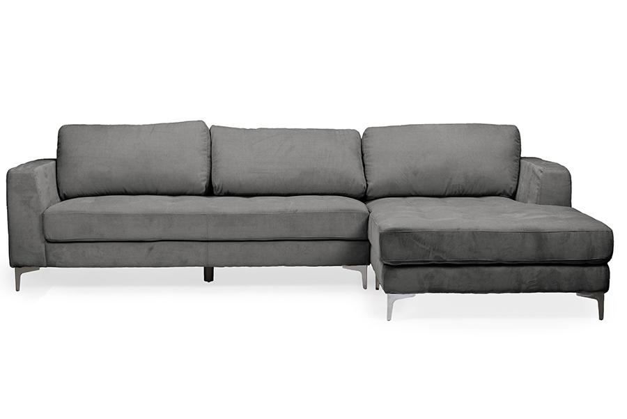 Baxton Studio Agnew Contemporary Grey Microfiber Right Facing Sectional  Sofa   U9320S LRCC RFC ...