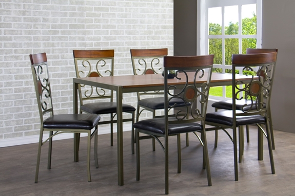 baxton studio fiore wood and metal 7 piece transitional