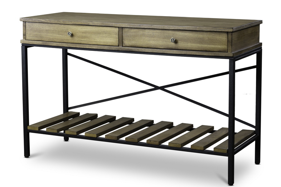 Baxton Studionewcastle Wood And Metal Console Table Criss Cross