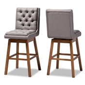 Baxton Studio Gregory Modern Transitional Grey Fabric Upholstered and Walnut Brown Finished Wood 2-Piece Swivel Bar Stool Set Baxton Studio restaurant furniture, hotel furniture, commercial furniture, wholesale bar furniture, wholesale bar stools, classic bar stools