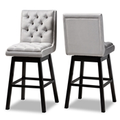 Baxton Studio Gregory Modern Transitional Light Grey Velvet Fabric Upholstered and Dark Brown Finished Wood 2-Piece Swivel Bar Stool Set Baxton Studio restaurant furniture, hotel furniture, commercial furniture, wholesale bar furniture, wholesale bar stools, classic bar stools