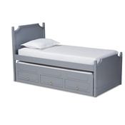 Baxton Studio Mariana Traditional Transitional Grey Finished Wood Twin Size 3-Drawer Storage Bed with Pull-Out Trundle Bed Baxton Studio restaurant furniture, hotel furniture, commercial furniture, wholesale bedroom furniture, wholesale twin, classic twin