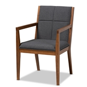 Baxton Studio Theresa Mid-Century Modern Dark Grey Fabric Upholstered and Walnut Brown Finished Wood Living Room Accent Chair Baxton Studio restaurant furniture, hotel furniture, commercial furniture, wholesale living room furniture, wholesale accent chairs, classic accent chairs