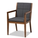 Baxton Studio Theresa Mid-Century Modern Dark Grey Fabric Upholstered and Walnut Brown Finished Wood Living Room Accent Chair - BBT5390-Dark Grey/Walnut-CC