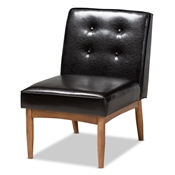Baxton Studio Arvid Mid-Century Modern Dark Brown Faux Leather Upholstered Wood Dining Chair Baxton Studio restaurant furniture, hotel furniture, commercial furniture, wholesale living room furniture, wholesale accent chairs, classic accent chairs