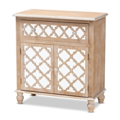 Baxton Studio Leah Glam Farmhouse Rustic Oak Brown Finished Wood and Mirrored 1-Drawer Quatrefoil Storage Cabinet Baxton Studio restaurant furniture, hotel furniture, commercial furniture, wholesale living room furniture, wholesale storage cabinet, classic storage cabinet