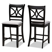 Baxton Studio Chandler Modern and Contemporary Grey Fabric Upholstered and Espresso Brown Finished Wood 2-Piece Counter Height Pub Chair Set Baxton Studio restaurant furniture, hotel furniture, commercial furniture, wholesale bar furniture, wholesale pub stools, classic pub stools