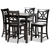 Baxton Studio Chandler Modern and Contemporary Grey Fabric Upholstered and Espresso Brown Finished Wood 5-Piece Counter Height Pub Dining Set Baxton Studio restaurant furniture, hotel furniture, commercial furniture, wholesale bar furniture, wholesale pub sets, classic pub sets