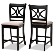 Baxton Studio Chandler Modern and Contemporary Sand Fabric Upholstered and Espresso Brown Finished Wood 2-Piece Counter Height Pub Chair Set Baxton Studio restaurant furniture, hotel furniture, commercial furniture, wholesale bar furniture, wholesale pub stools, classic pub stools
