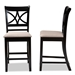 Baxton Studio Chandler Modern and Contemporary Sand Fabric Upholstered and Espresso Brown Finished Wood 2-Piece Counter Height Pub Chair Set - RH329P-Sand/Dark Brown-PC
