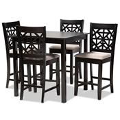 Baxton Studio Devon Modern and Contemporary Sand Fabric Upholstered and Espresso Brown Finished Wood 5-Piece Pub Dining Set Baxton Studio restaurant furniture, hotel furniture, commercial furniture, wholesale bar furniture, wholesale pub sets, classic pub sets