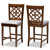 Baxton Studio Oscar Modern and Contemporary Grey Fabric Upholstered and Walnut Brown Finished Wood 2-Piece Counter Height Pub Chair Set Baxton Studio restaurant furniture, hotel furniture, commercial furniture, wholesale bar furniture, wholesale pub stools, classic pub stools