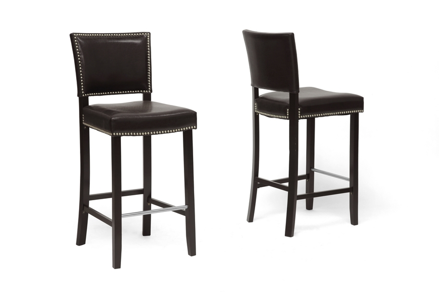 Aries Modern Bar Stool with Nail Head Trim (Set of 2)