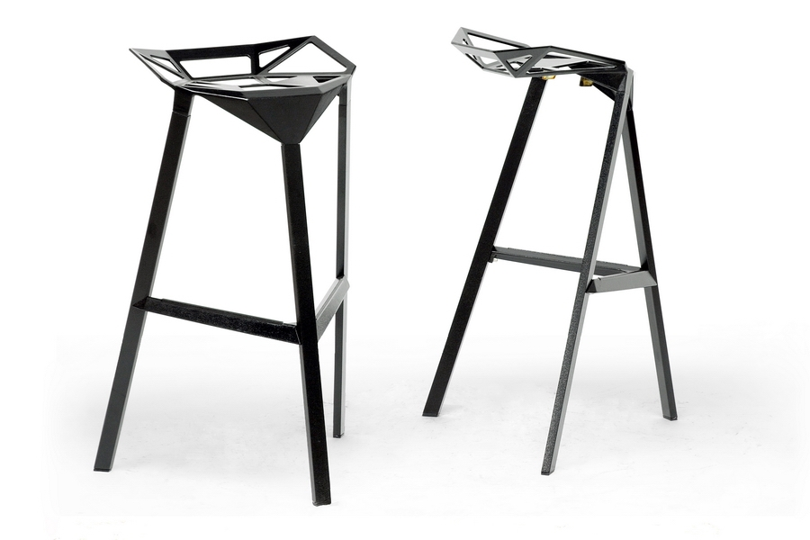 Barstool Kaysa Aluminum Black-Red-White - Set of 2