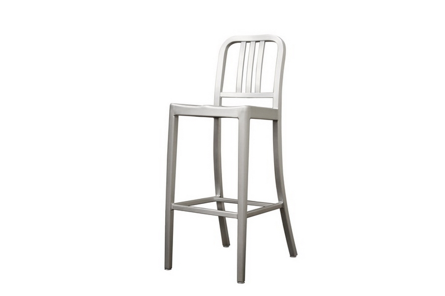 Modern Cafe Bar Stool in Brushed Aluminum