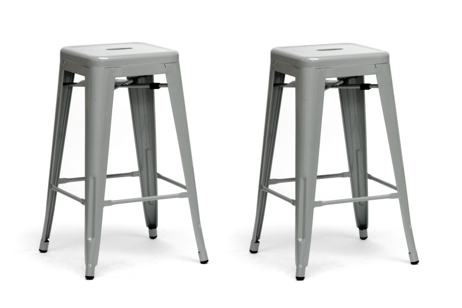 French Industrial Modern Counter Stool in Gray (Set of 2)