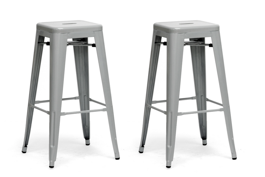 French Industrial Modern Bar Stool in Gray (Set of 2)