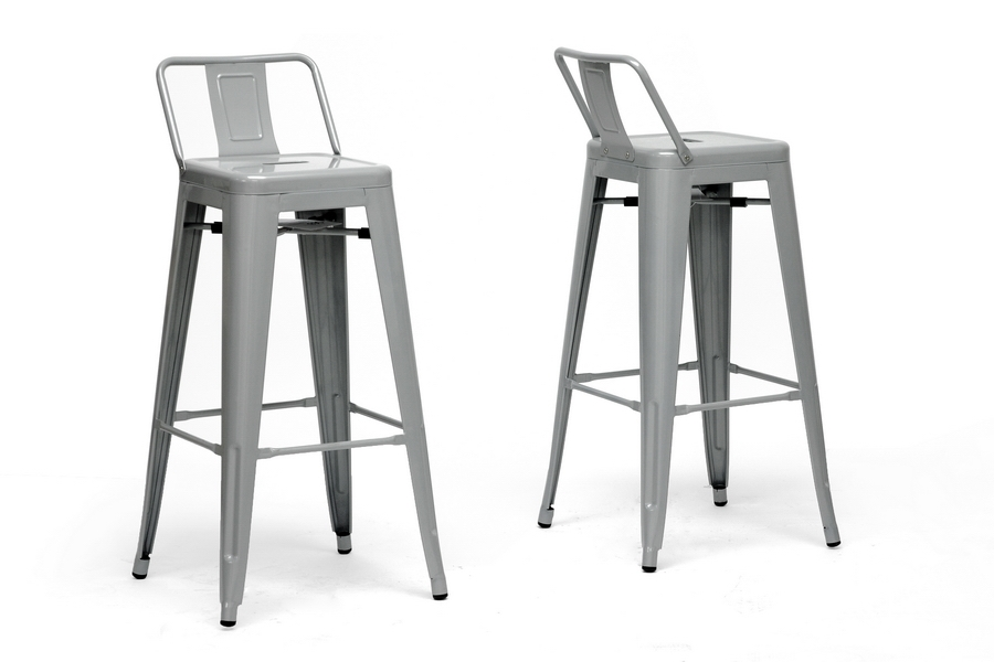 French Industrial Modern Bar Stool with Back Support in Gray (Set of 2)