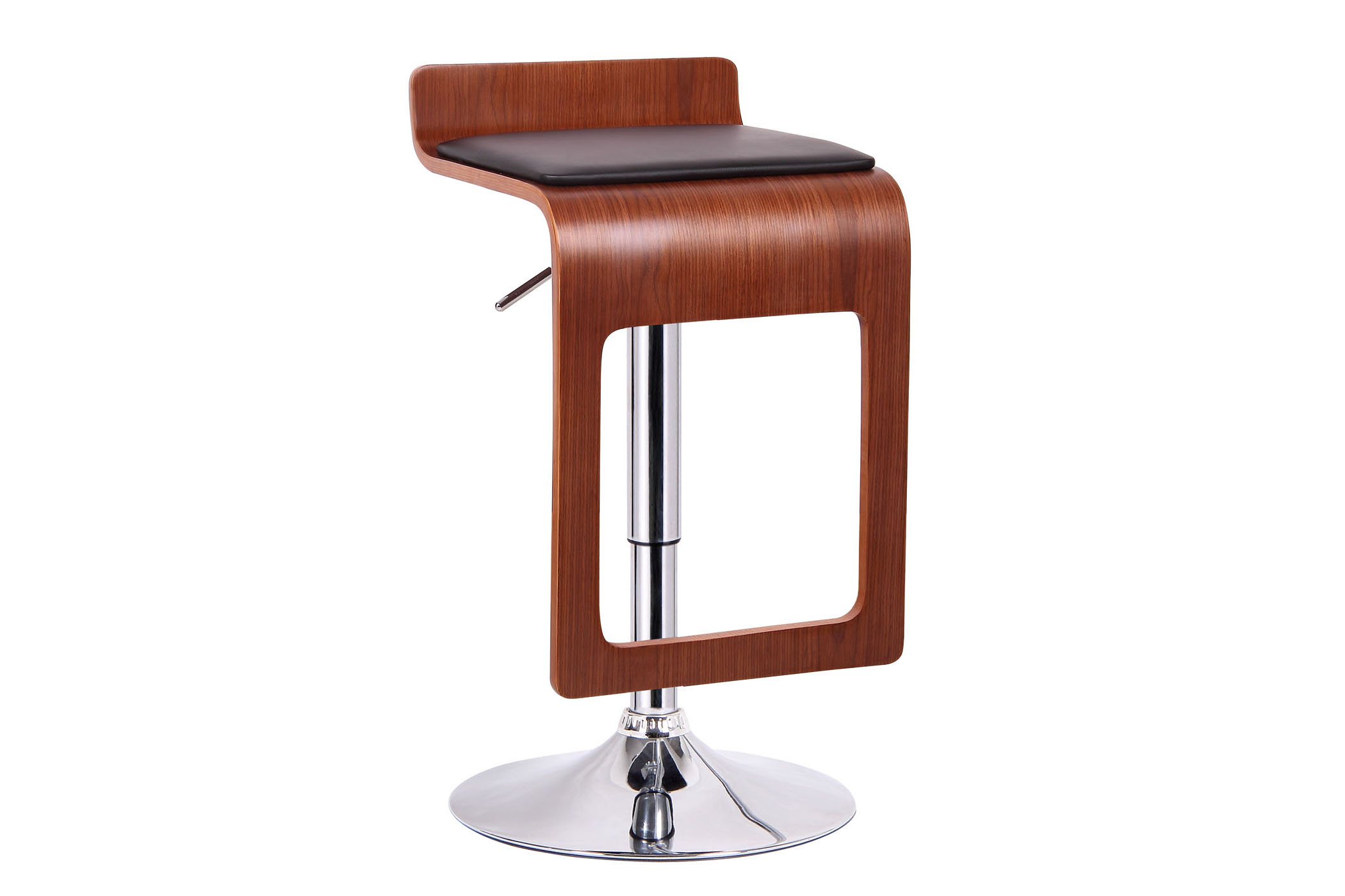 Murl Walnut and Black Modern Bar Stool