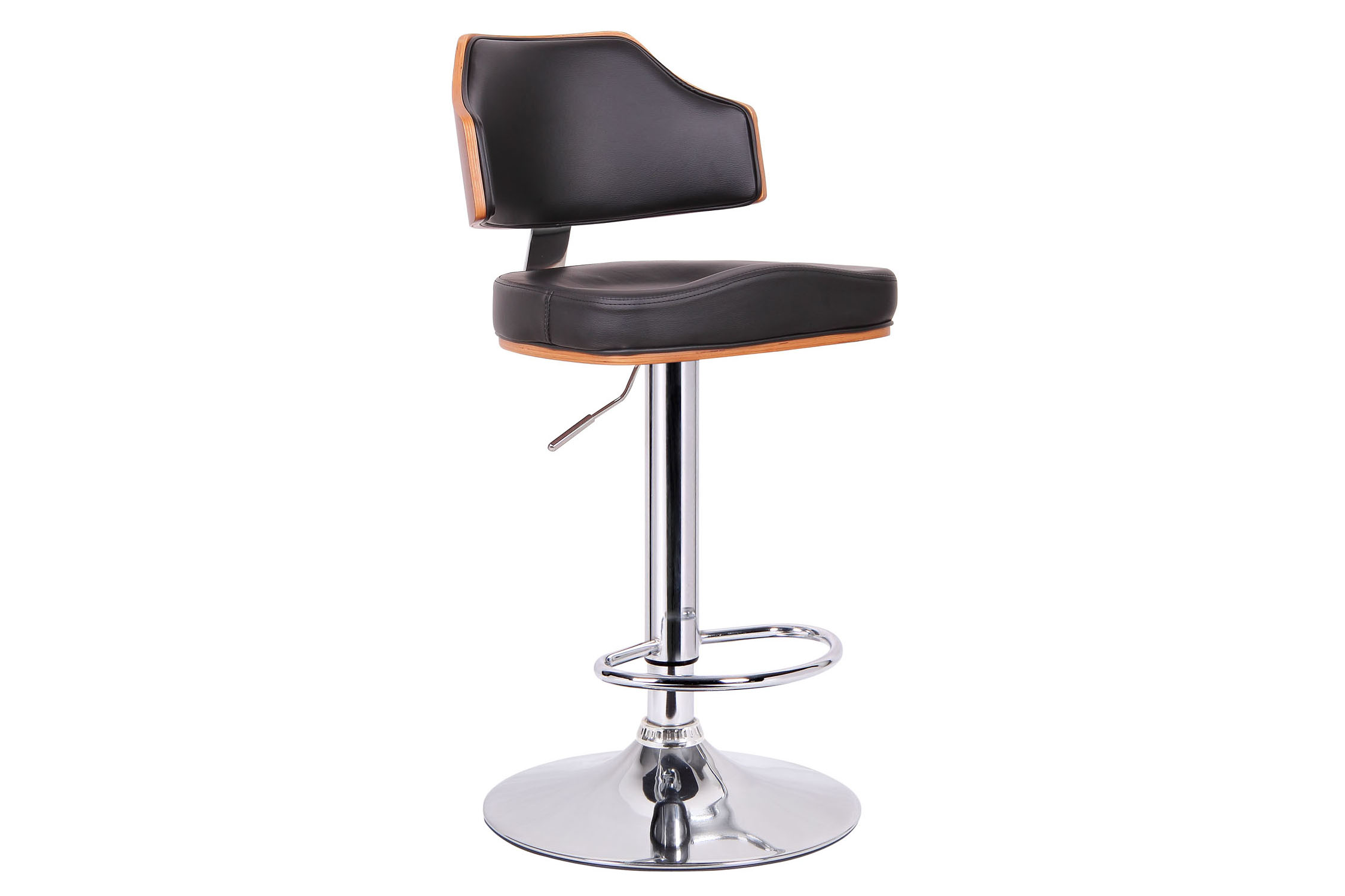 Cabell Walnut and Black Modern Bar Stool