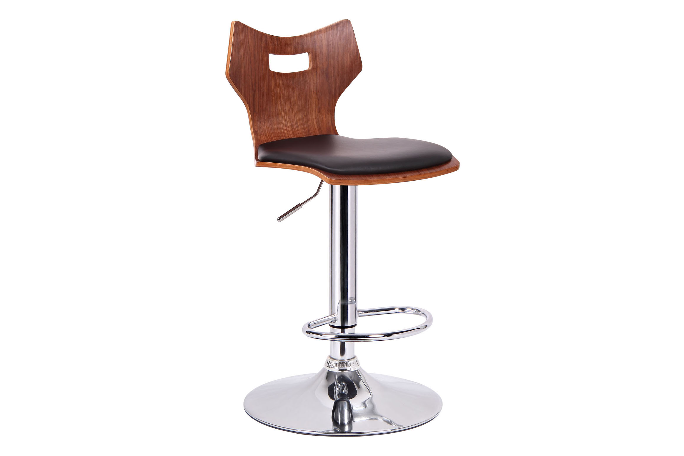 Amery Walnut and Black Modern Bar Stool