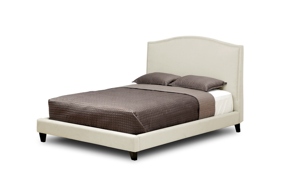 Aisling Cream Fabric Platform Bed - Queen Size