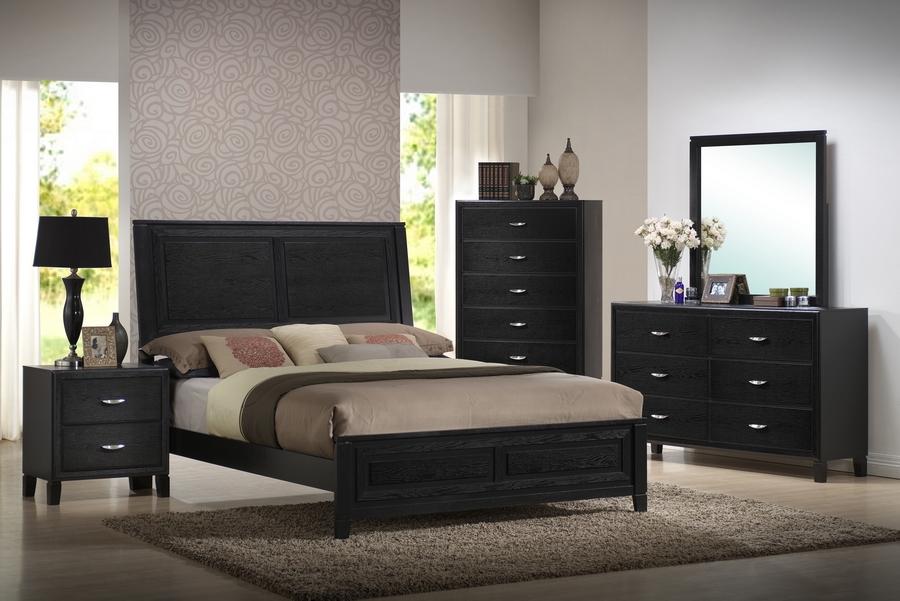 Eaton Black Wood 5-Piece Queen Modern Bedroom Set