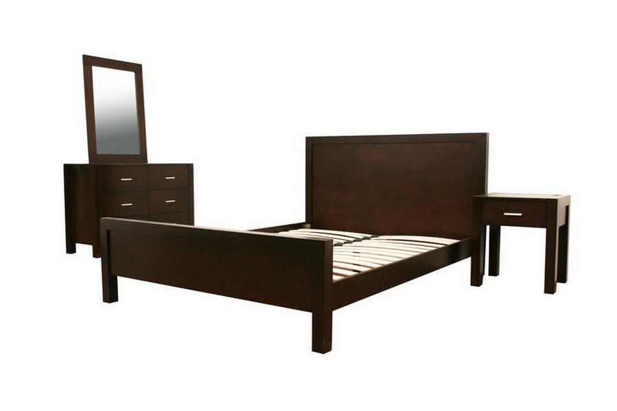 Charlie Dark Brown Wood Queen 4 Piece Modern Bedroom Set