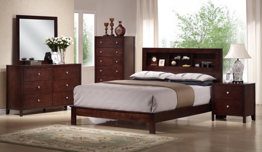Montana Mahogany Brown Wood 5-Piece Queen Modern Bedroom Set